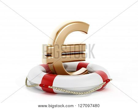 3D rendering of gold euro symbol inside life buoy isolated on white background.