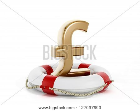 3D rendering of gold pound sign inside life buoy isolated on white background.