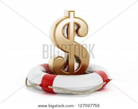 3D rendering of gold dollar symbol inside life buoy isolated on white background.