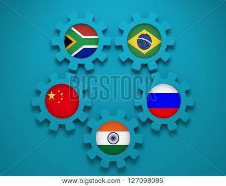 BRICS - association of five major emerging national economies members flags on cog wheels. Trade union. Global teamwork. Blue background. 3D rendering