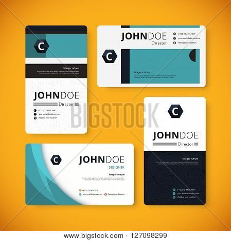 Corporate Indentity Business Card Template. Template Design. Vector Stock.