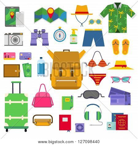 Summer vacation symbols holiday tourism and summer vacation bag trip symbols. Vacation concept tropical suitcase. Summer vacation symbols beach travel holiday tourism set flat vector travel icons