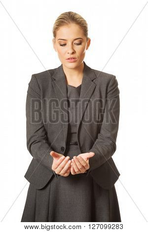 Woman with cupped hands