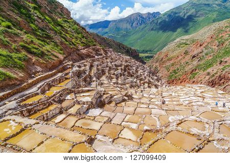 Inca Salt Pools at Maras in the Sacred Valley of the Incas Peru
