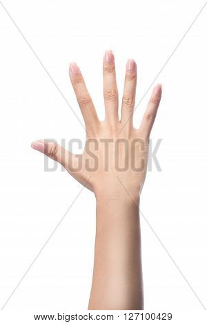 Counting woman hands five number 5 isolated on white with clipping path