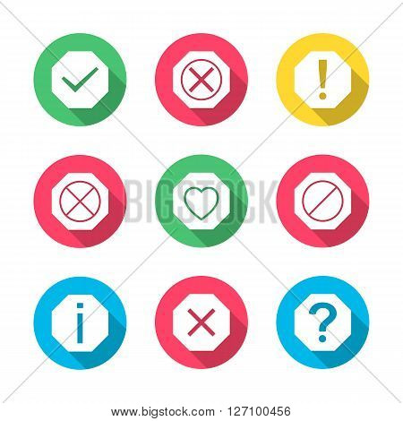 Set of icons and signs symbols help information check delete attention with long diagonal shadow vector illustration