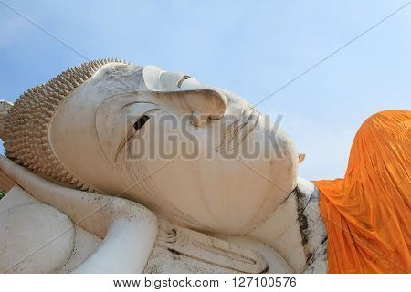 face of sleeping buddha statue in wat khun-inthapramoon temple Angthong Province central of thailand