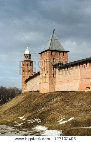 Tower of the Novgorod Kremlin. Types of towers and walls of Kremlin in Veliky Novgorod. ** Note: Visible grain at 100%, best at smaller sizes