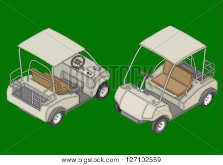 Golf cart isometric flat vector 3d illustration. Golf can icons.