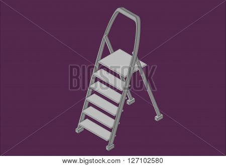 Step ladder isometric flat vector 3d illustration