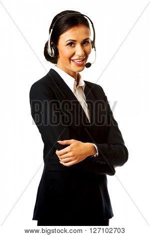 Happy phone operator in headset