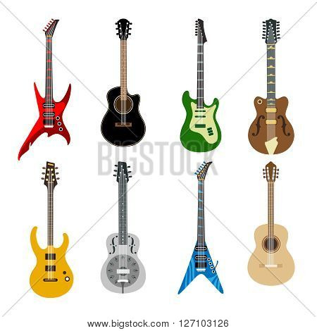 Acoustic guitars and electric guitars colored icons on white background. Different shape guitars vector icons set