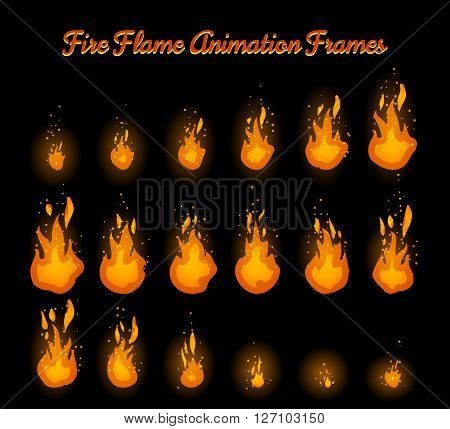 Fire flame animation frames for fire trap vector illustration