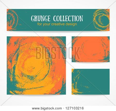 Set of watercolor business cards template and banners with hand painted orange and yelow grunge backgrounds.