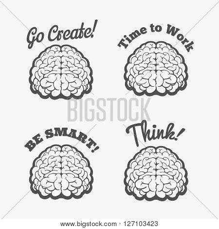 Human brain logo set. Vector brain thinking badges or smart brain stickers
