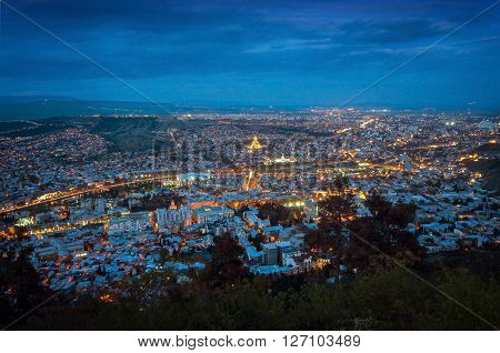 Night overview: Tbilisi city from the Saint mount (Mtatsminda)