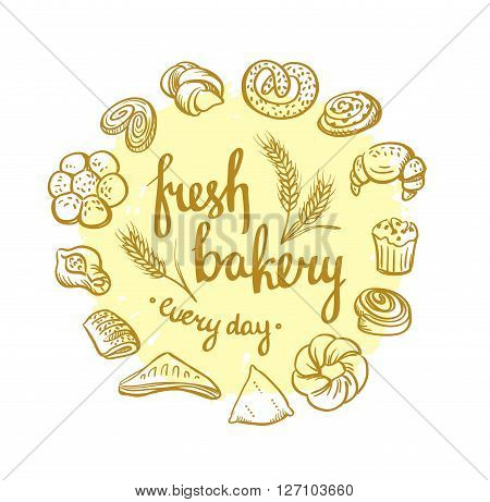 Set of bakery icons. Bread cookies cake pie. Bakery background.