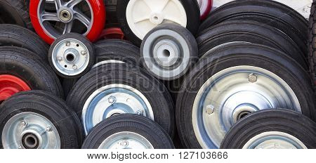rubber wheels of different sizes wheel, round, rubber,
