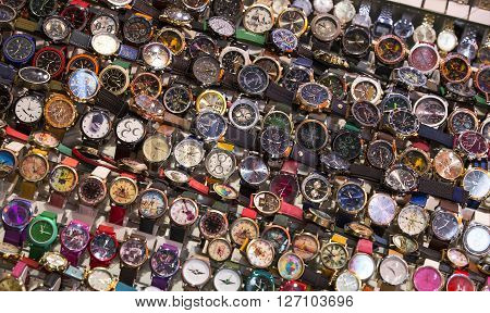 ISTANBUL, TURKEY - 6 APRIL  2016: Stand with wrist watches the Grand Bazaar: April 6, 2016 in Istanbul, Turkey