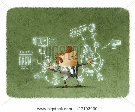 Illustration of businessman with eyes closed touching sensor screen