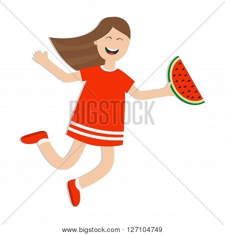 Girl jumping isolated. Happy child jump. Cute cartoon laughing character in red dress holding watermelon slice. Smiling woman. White background. Flat design Vector illustration