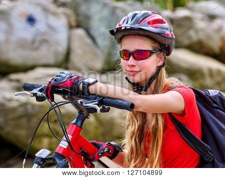 Bikes cycling girl. Bicyclist girl watch on watches.