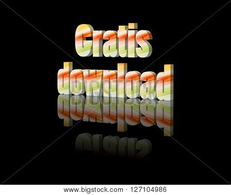 Gratis download - 3d word with reflection !