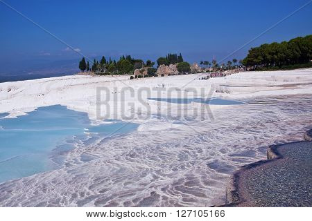 Natural travertine pools and terraces. Pamukkale. Turkey. Pamukkale is included in the UNESCO World Heritage List.