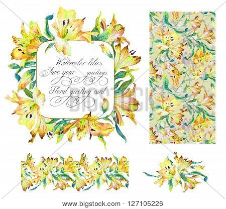 Set with frame, seamless pattern, frieze and other elements. Yellow watercolor lilies. Watercolor flowers. Spring and summer motifs. Can be used for any your design.
