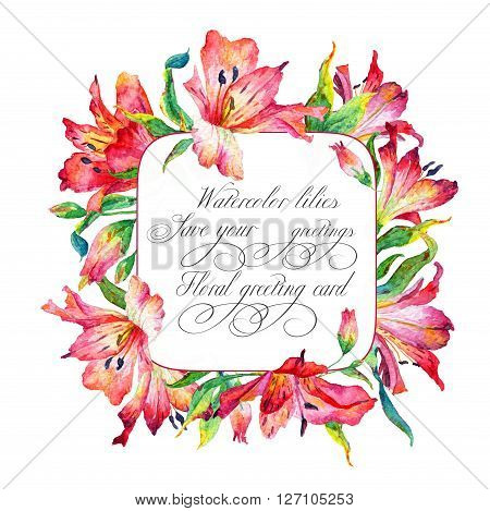 Frame with red watercolor lilies. Frame can be used as greeting card template for invitation card and so on.