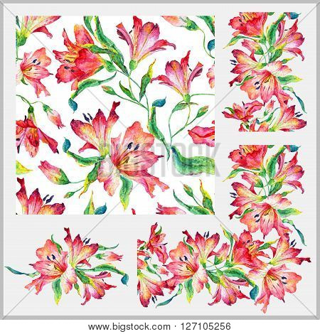 Set with seamless pattern, frieze, corner and other elements. Red watercolor lilies. Watercolor flowers. Spring and summer motifs. Can be used for any your design.