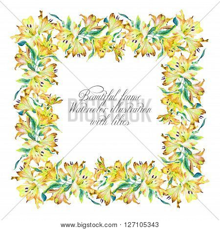 Frame with yellow watercolor lilies. Frame can be used as greeting card template for invitation card and so on.