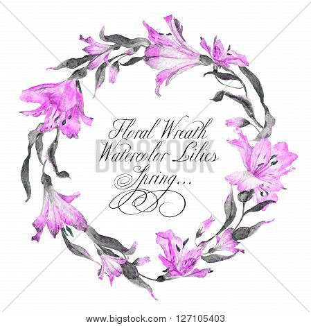 Wreath  with pink watercolor lilies. Frame can be used as greeting card template for invitation card and so on.
