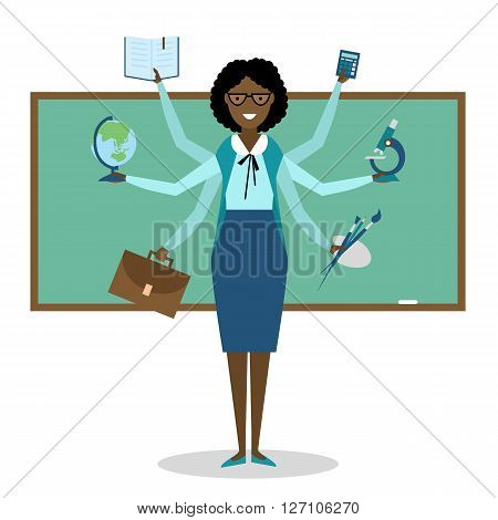 Multitasking skillful african american teacher on white background.