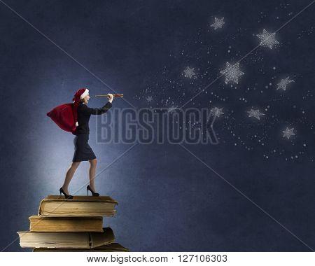 Santa woman with spyglass