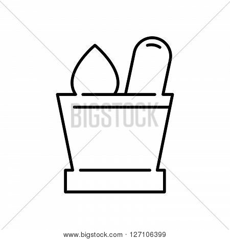 Line Icon Style, Mortar With Herbs Icon