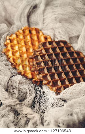 Belgian Waffles With Chocolate Icing