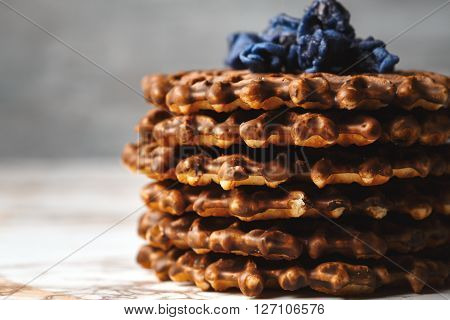 Stack Of Homemade Waffles Close Up