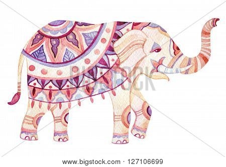 Watercolor elephant in bohemian style. Ornate elephant in pink and purple colors isolated on white background. Hand drawn illustration for design in tribal or boho styles