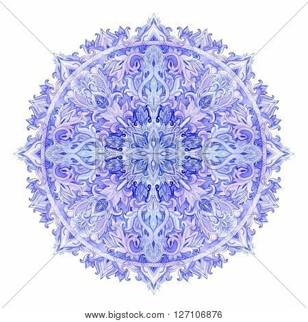 Watercolor mandala. Hand drawn pattern in Eastern style. Ornamental lace pattern for design in tribal and boho styles. Traditional lace isolated on white background.