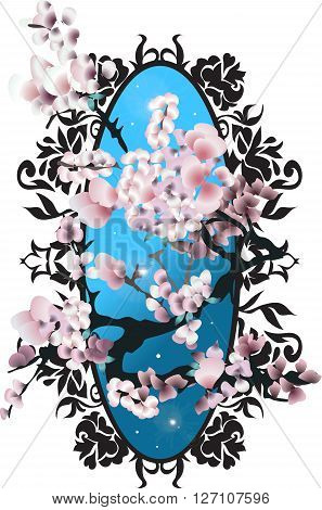 Card with blossom sakura. Vector illustration for design. Elegant silhouette style