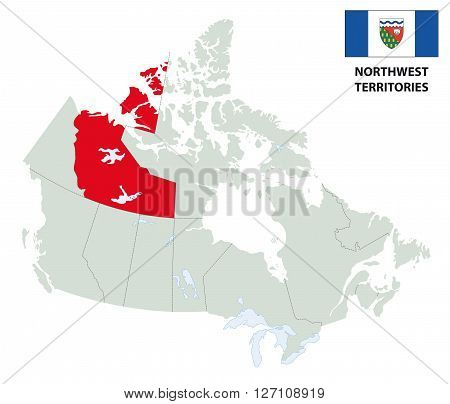 outline map of Canada's northwest territories with flag