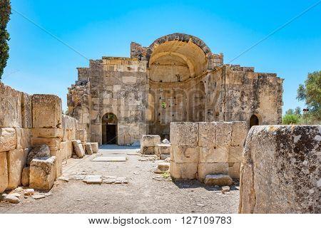 Basilica of Agios Titos in ancient site of Gortyna. Messara Plain Crete Greece
