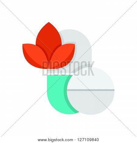 Flat Icon Pills Alternative medicine icon support vector design  eps 10.