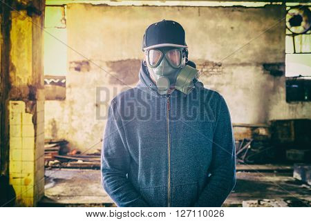 Portrait of man with gas mask on his faceselective focus