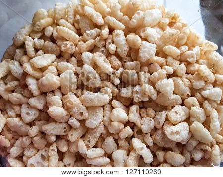 Healthy breakfast with rice crispies for low calories