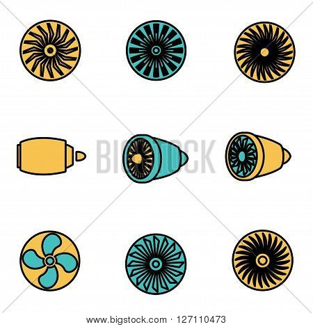 Trendy flat line icon pack for designers and developers. Vector line turbines icon set