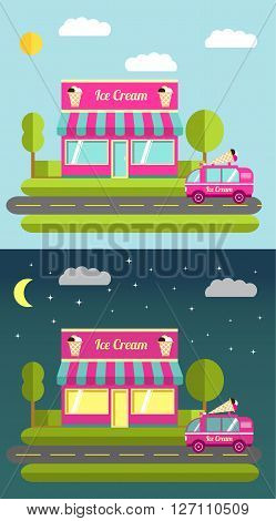 flat illustration with the image of cafe of ice cream night and the car on delivery and sale of ice cream.