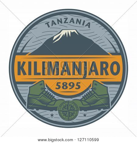 Stamp or emblem with text Kilimanjaro Tanzania, vector illustration