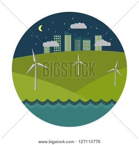 Flat  illustration with solar wind generators at night